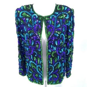 New Stenay Large Silk Sequined Formal Jacket Green